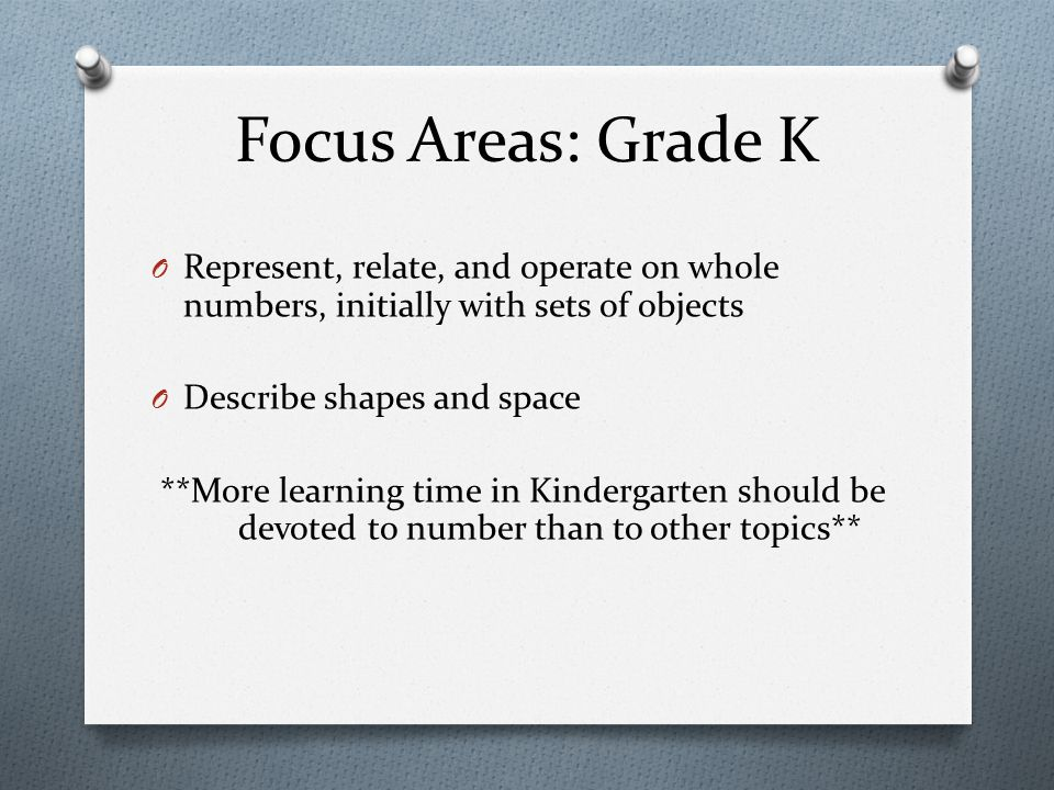 Focus Areas: Grade K Represent, relate, and operate on whole numbers, initially with sets of objects.