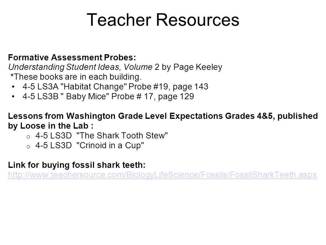 Teacher Resources Formative Assessment Probes: