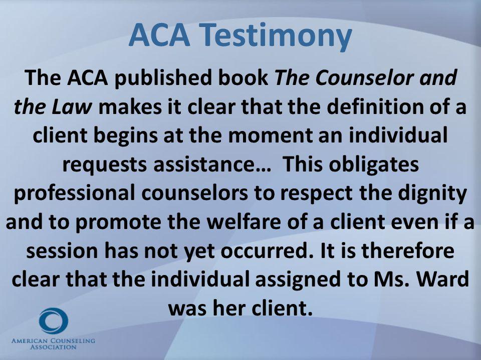 ACA Testimony