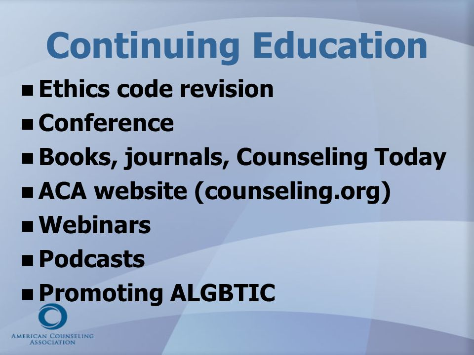 Continuing Education Ethics code revision Conference