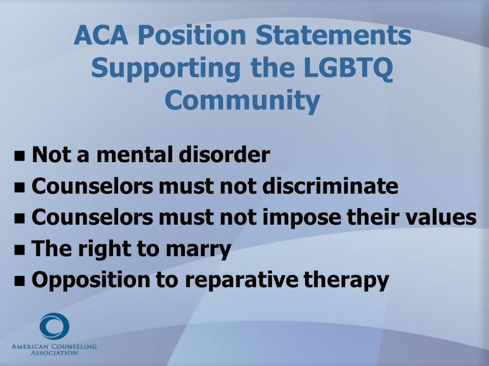 ACA Position Statements Supporting the LGBTQ Community