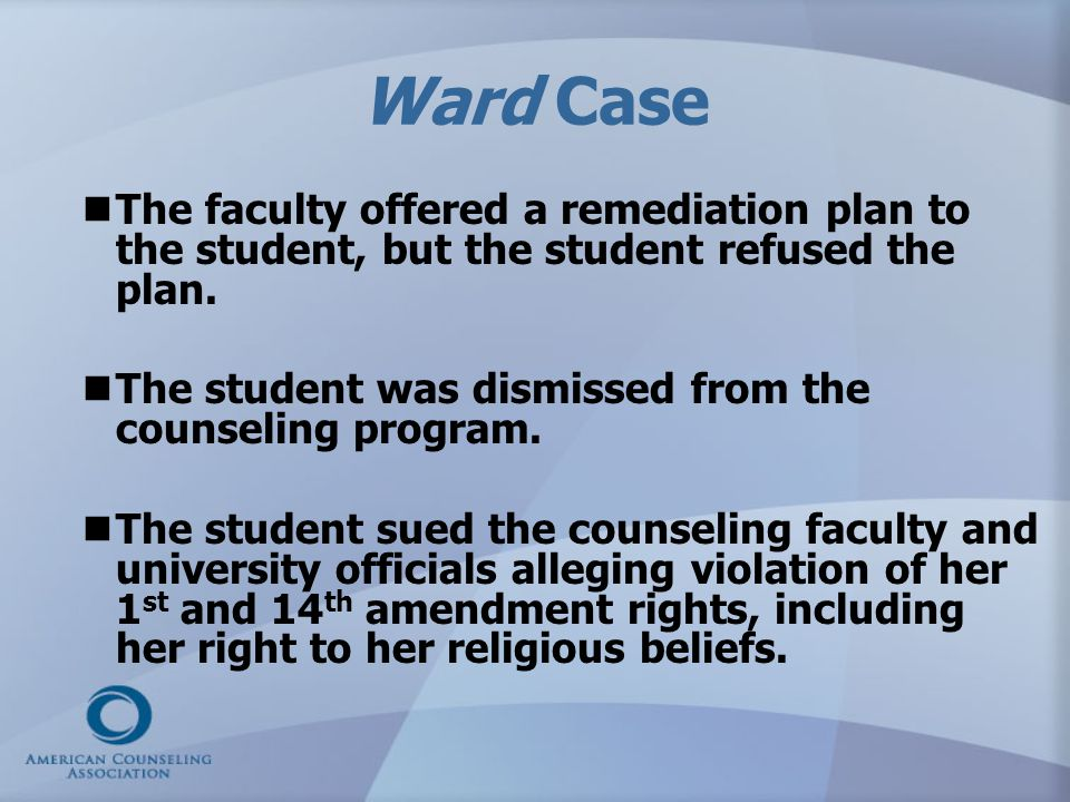 Ward Case The faculty offered a remediation plan to the student, but the student refused the plan.