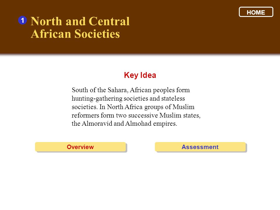 North and Central African Societies Key Idea 1