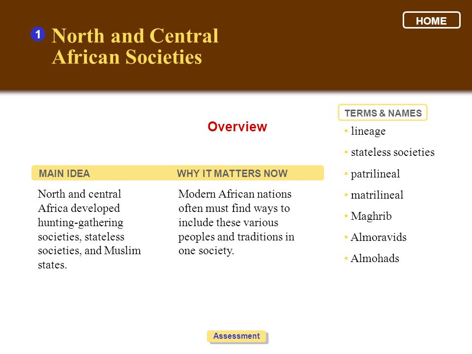 North and Central African Societies Overview 1 • lineage