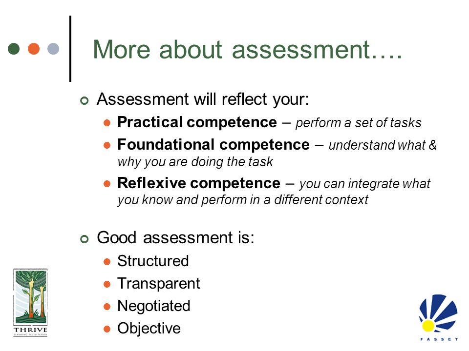 More about assessment….