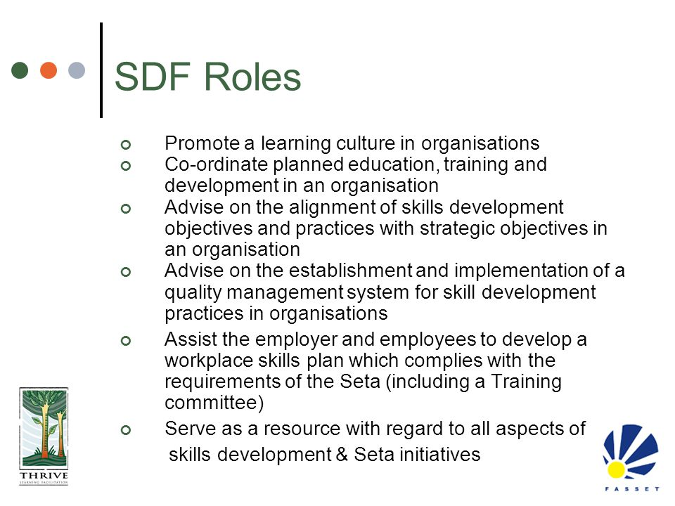 SDF Roles Promote a learning culture in organisations