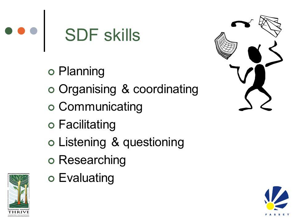 SDF skills Planning Organising & coordinating Communicating