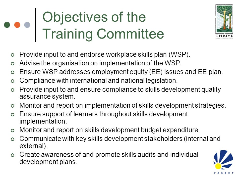 Objectives of the Training Committee