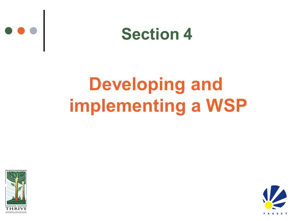 Developing and implementing a WSP
