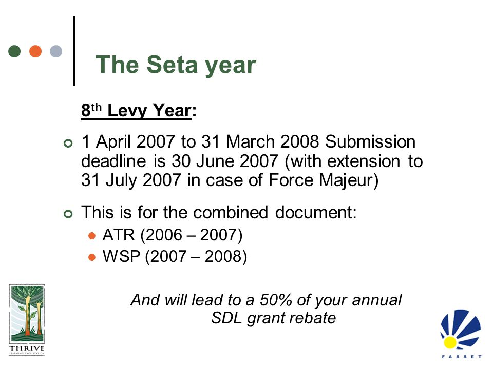 And will lead to a 50% of your annual SDL grant rebate
