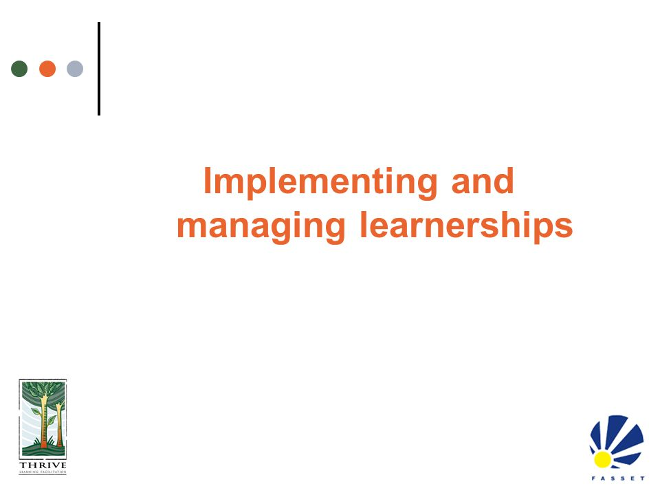 Implementing and managing learnerships