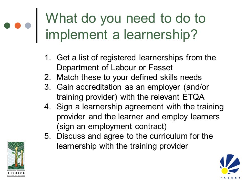 What do you need to do to implement a learnership