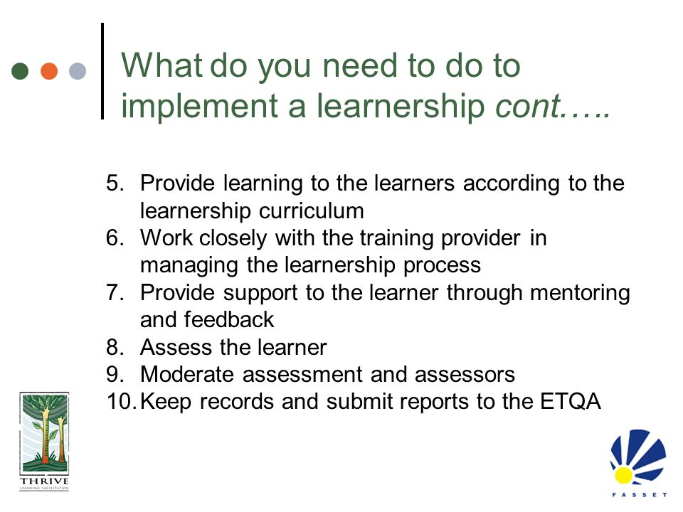 What do you need to do to implement a learnership cont.….