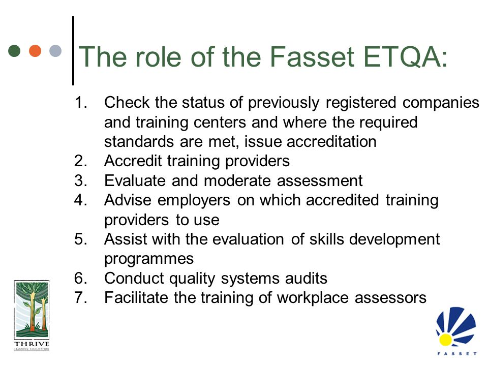 The role of the Fasset ETQA:
