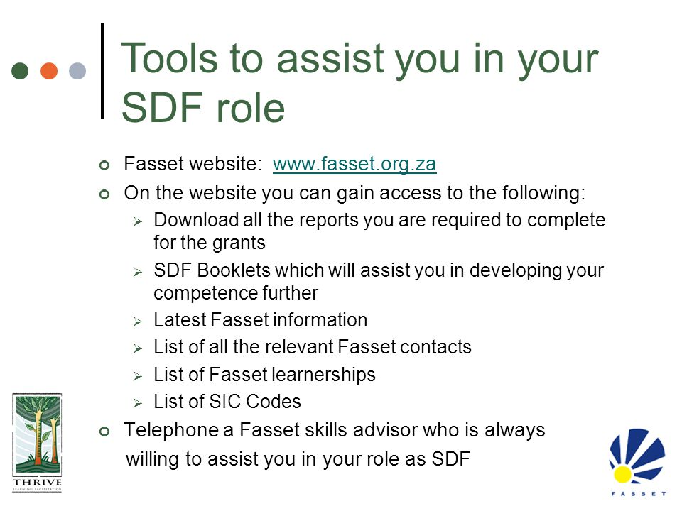 Tools to assist you in your SDF role