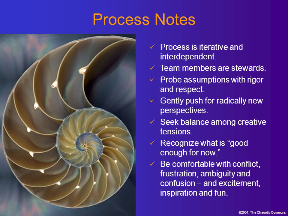 Process Notes Process is iterative and interdependent.