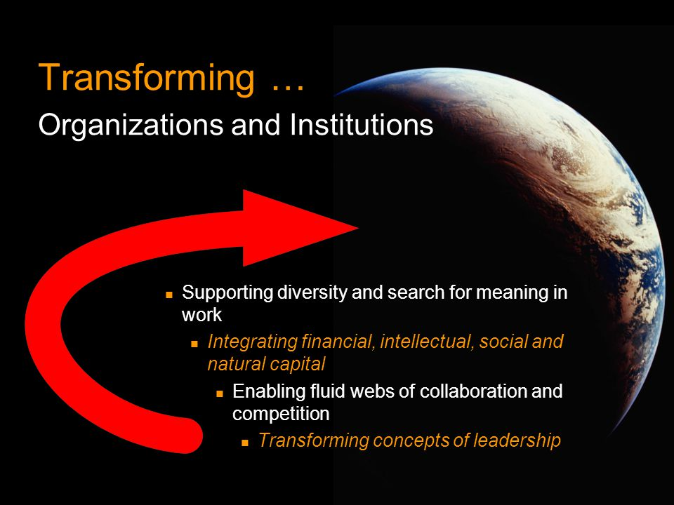 Transforming … Organizations and Institutions