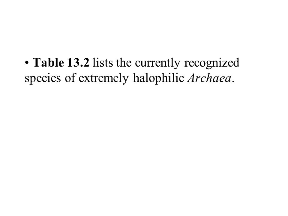 Table 13.2 lists the currently recognized species of extremely halophilic Archaea.