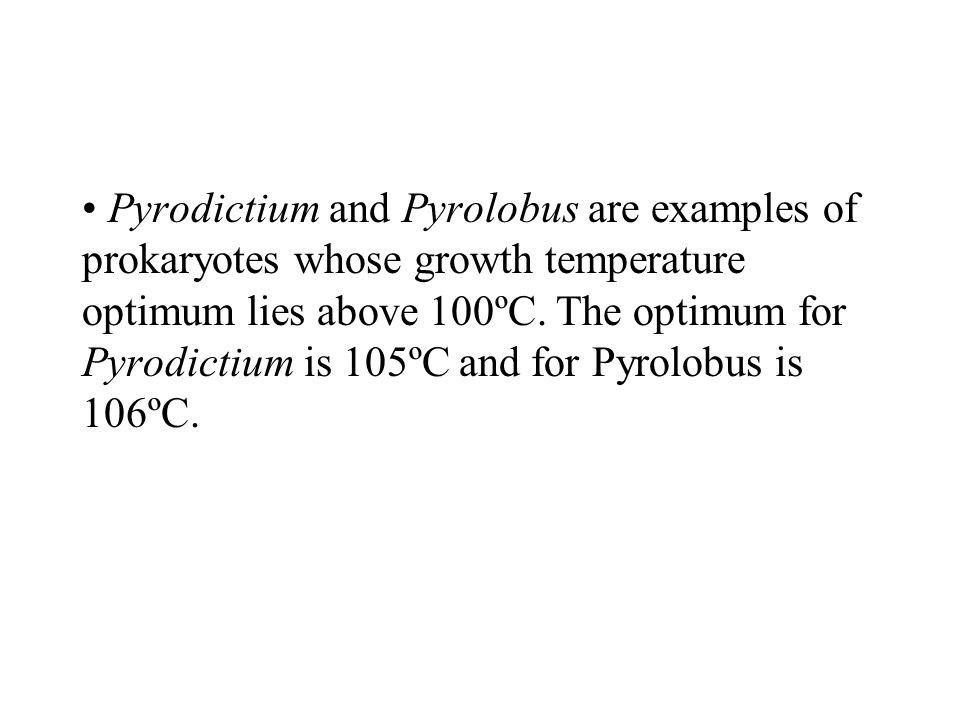 Pyrodictium and Pyrolobus are examples of prokaryotes whose growth temperature optimum lies above 100ºC.