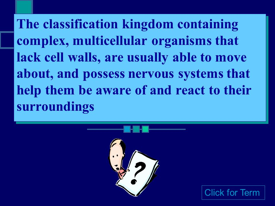 The classification kingdom containing complex, multicellular organisms that lack cell walls, are usually able to move about, and possess nervous systems that help them be aware of and react to their surroundings