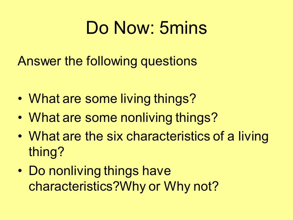 Do Now: 5mins Answer the following questions