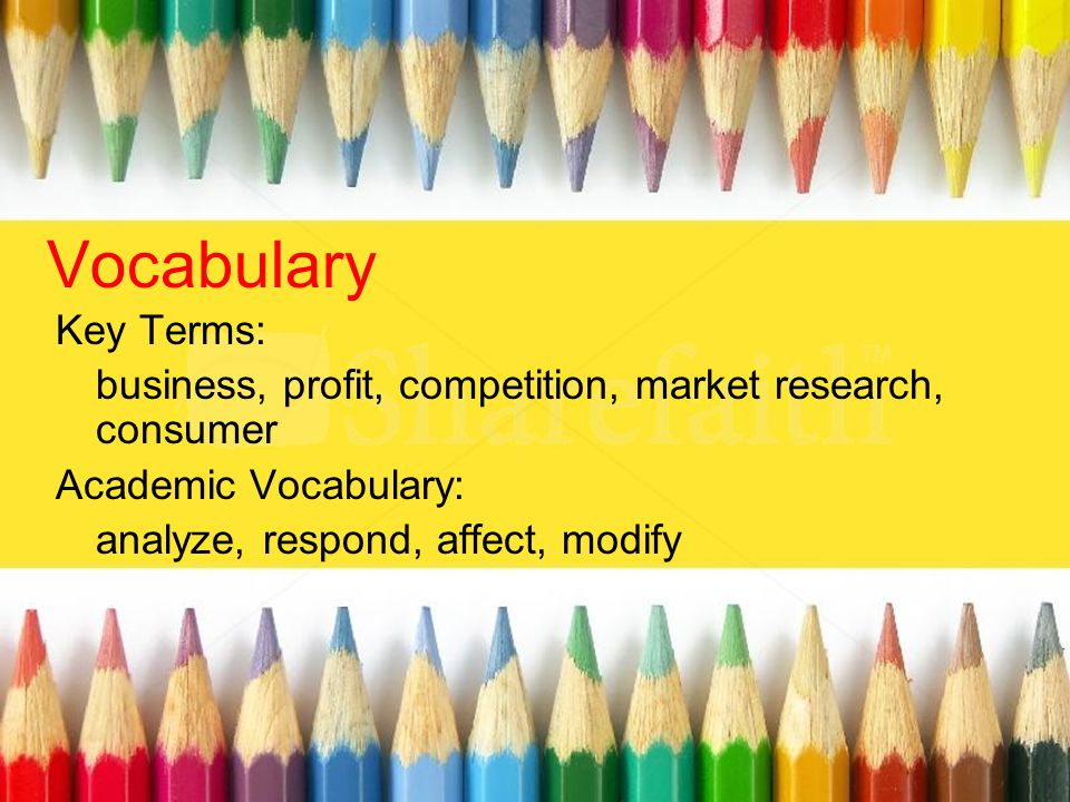 Vocabulary Key Terms: business, profit, competition, market research, consumer. Academic Vocabulary: