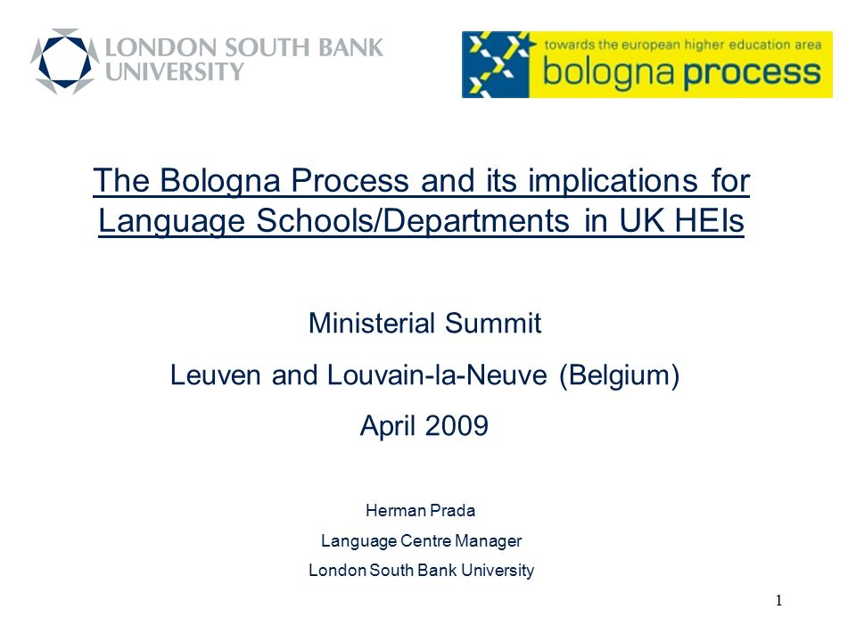 The Bologna Process and its implications for Language Schools/Departments in UK HEIs