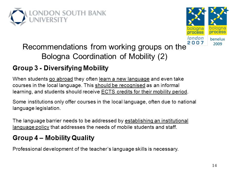Recommendations from working groups on the Bologna Coordination of Mobility (2)