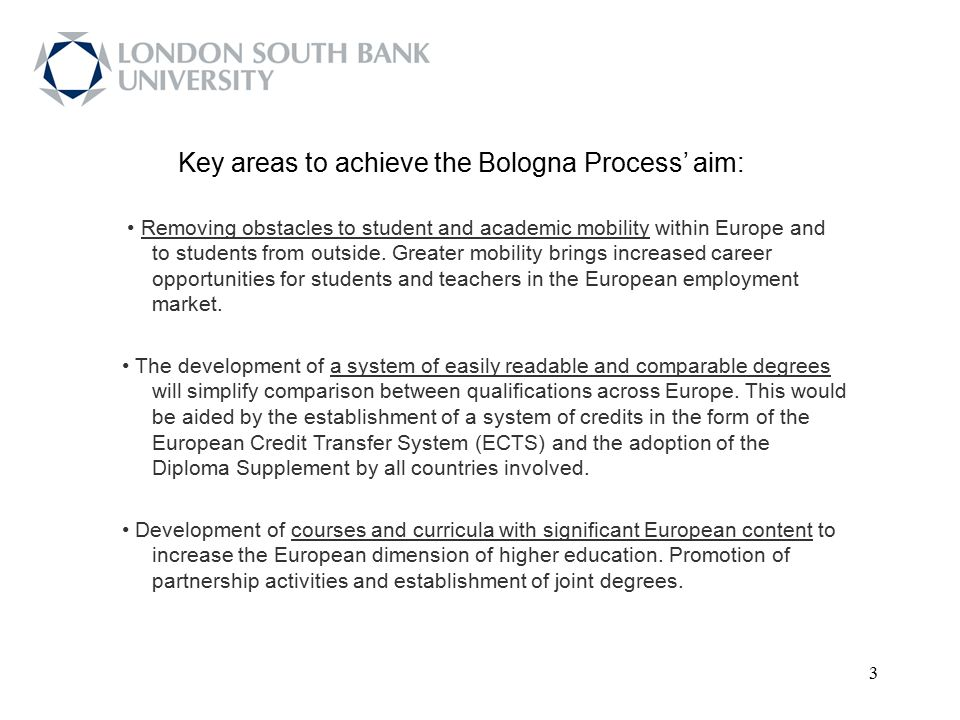 Key areas to achieve the Bologna Process' aim: