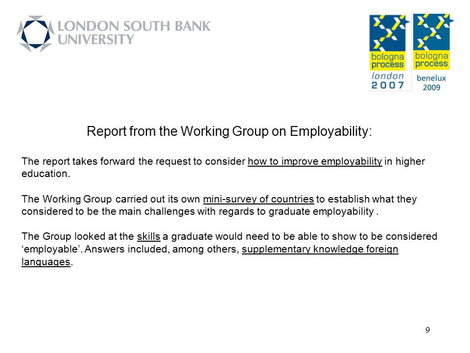 Report from the Working Group on Employability: