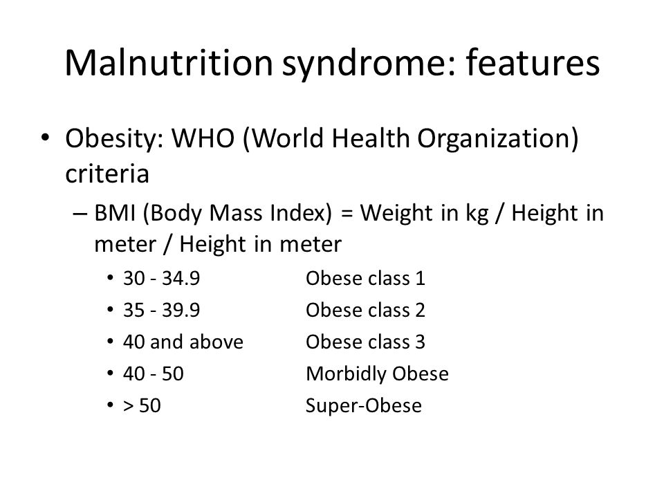Malnutrition syndrome: features