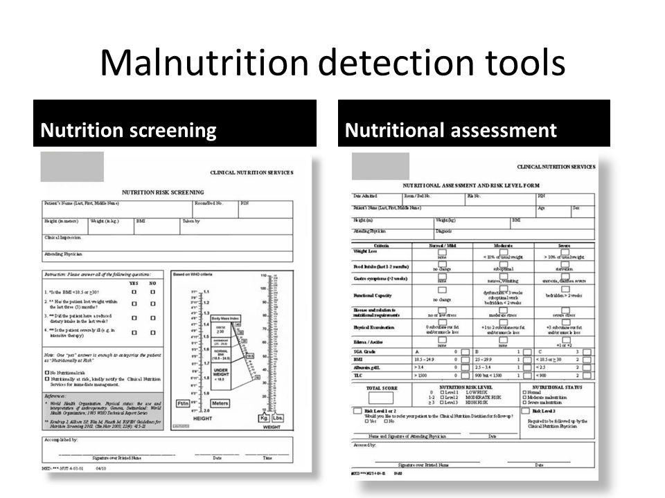 Malnutrition detection tools