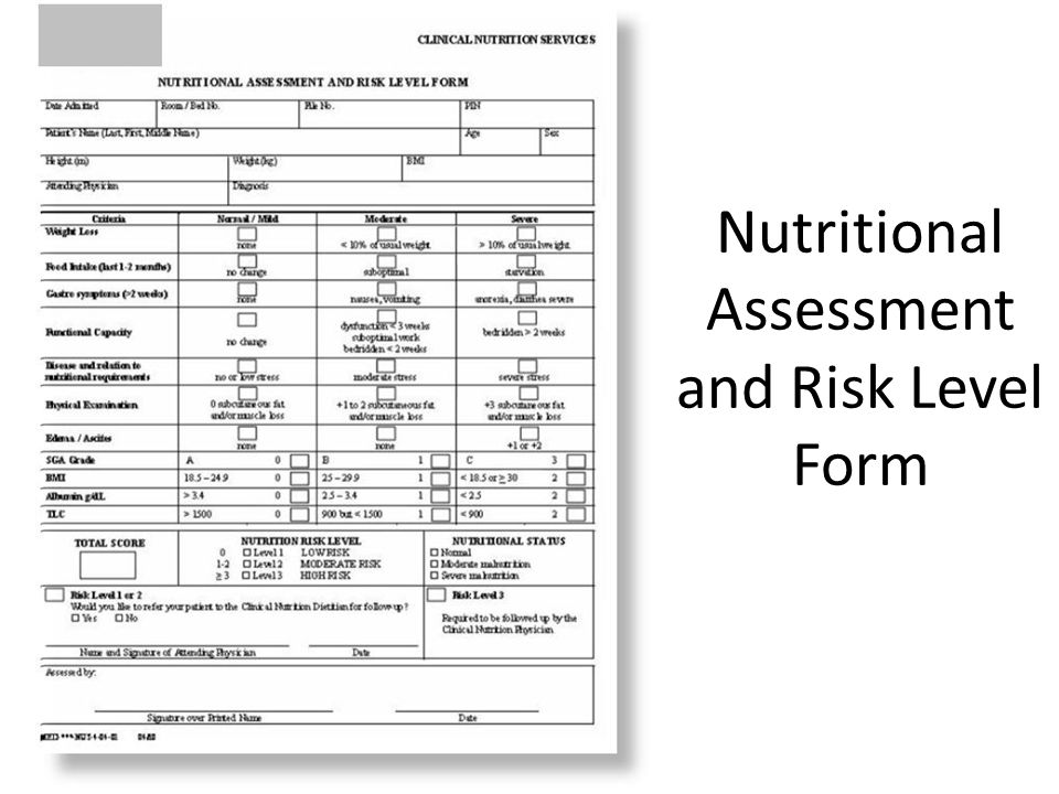 Nutritional Assessment and Risk Level Form