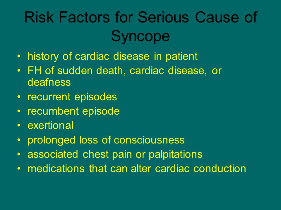Risk Factors for Serious Cause of Syncope