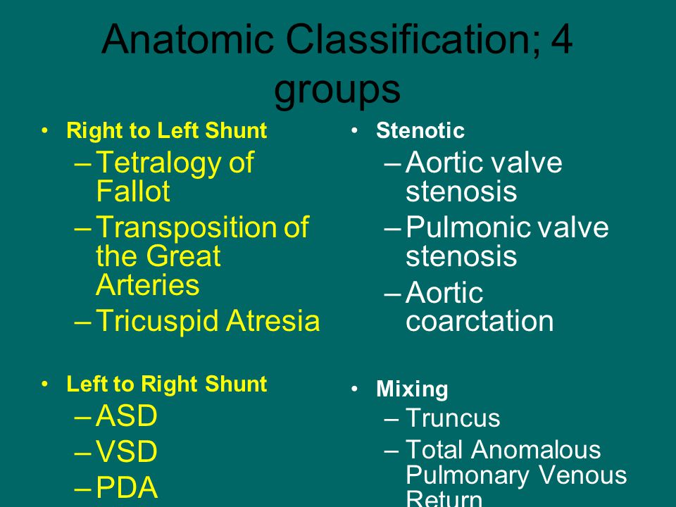 Anatomic Classification; 4 groups