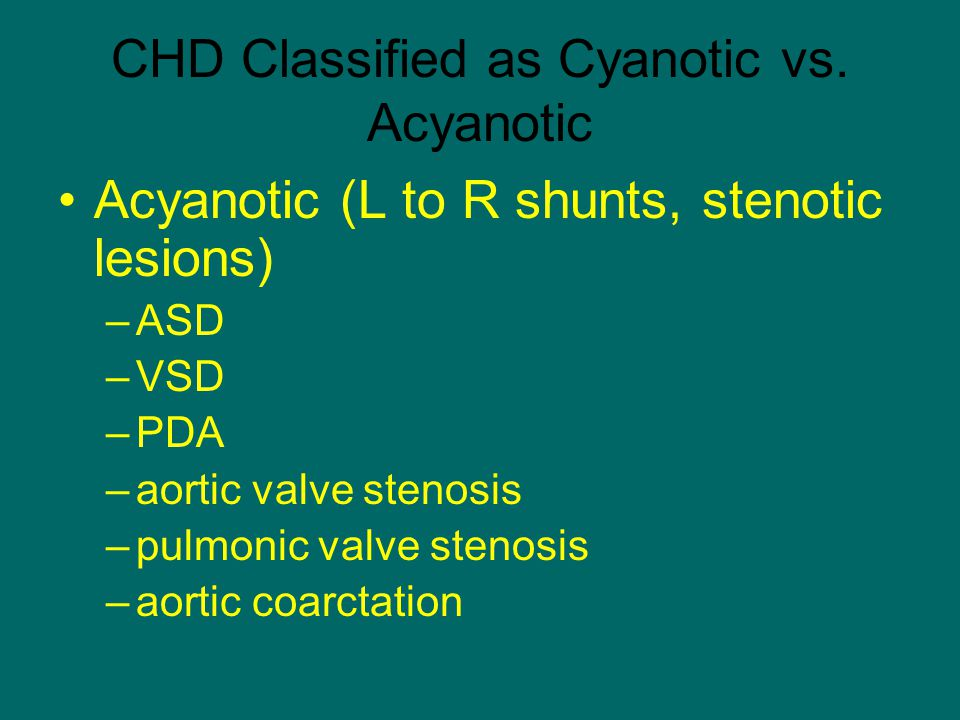 CHD Classified as Cyanotic vs. Acyanotic