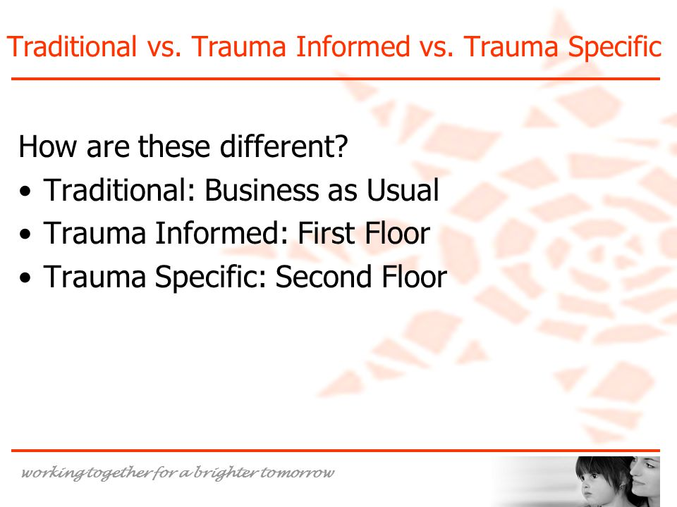 Traditional vs. Trauma Informed vs. Trauma Specific