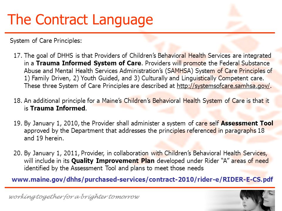 The Contract Language System of Care Principles: