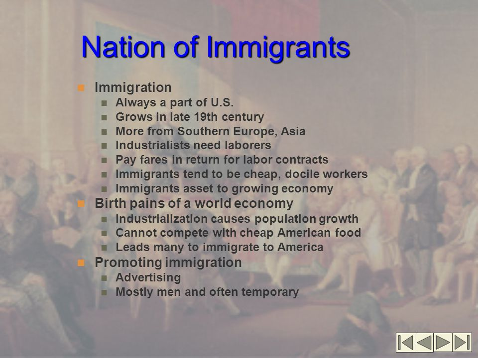 Nation of Immigrants Immigration Birth pains of a world economy