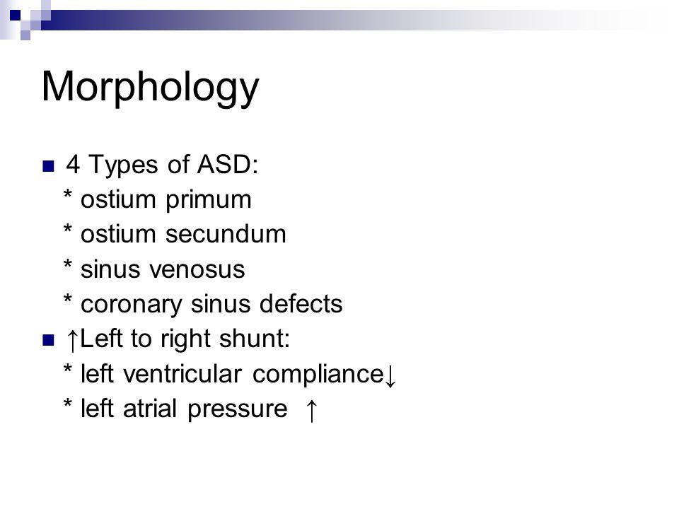 Morphology 4 Types of ASD: * ostium primum * ostium secundum