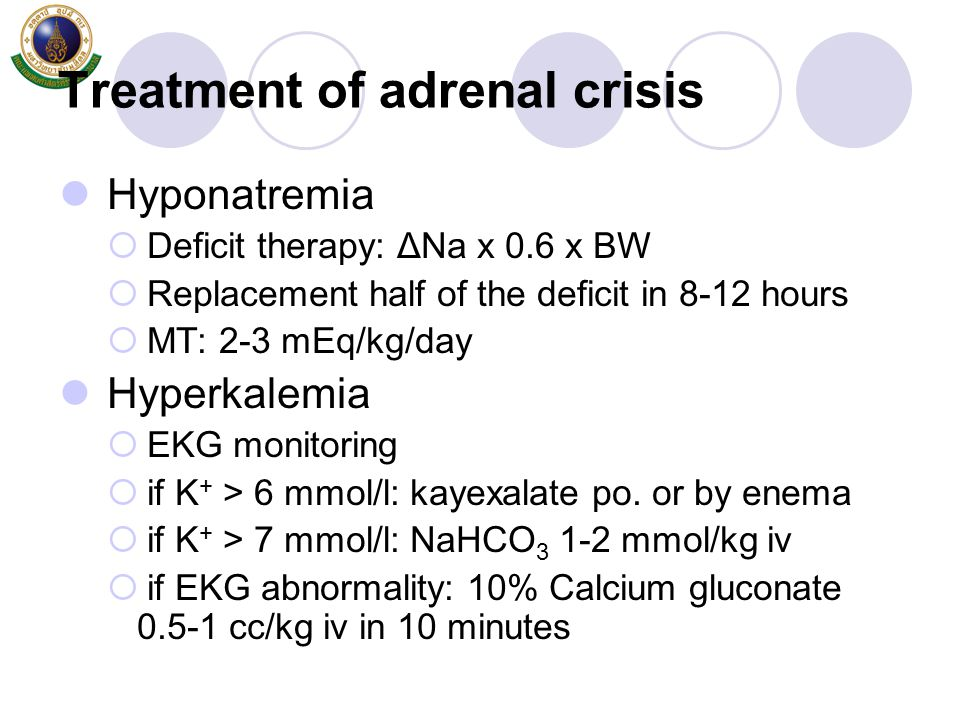 Treatment of adrenal crisis