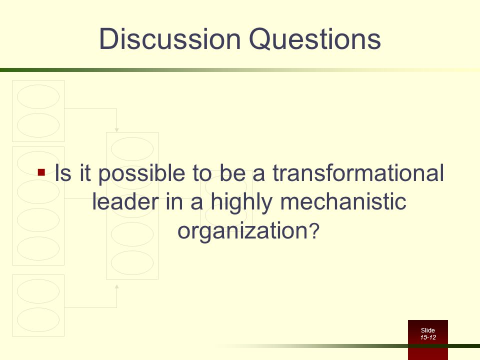 Discussion Questions Is it possible to be a transformational leader in a highly mechanistic organization