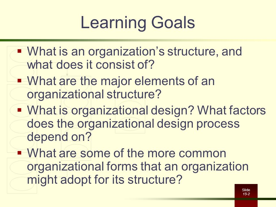 Learning Goals What is an organization's structure, and what does it consist of What are the major elements of an organizational structure