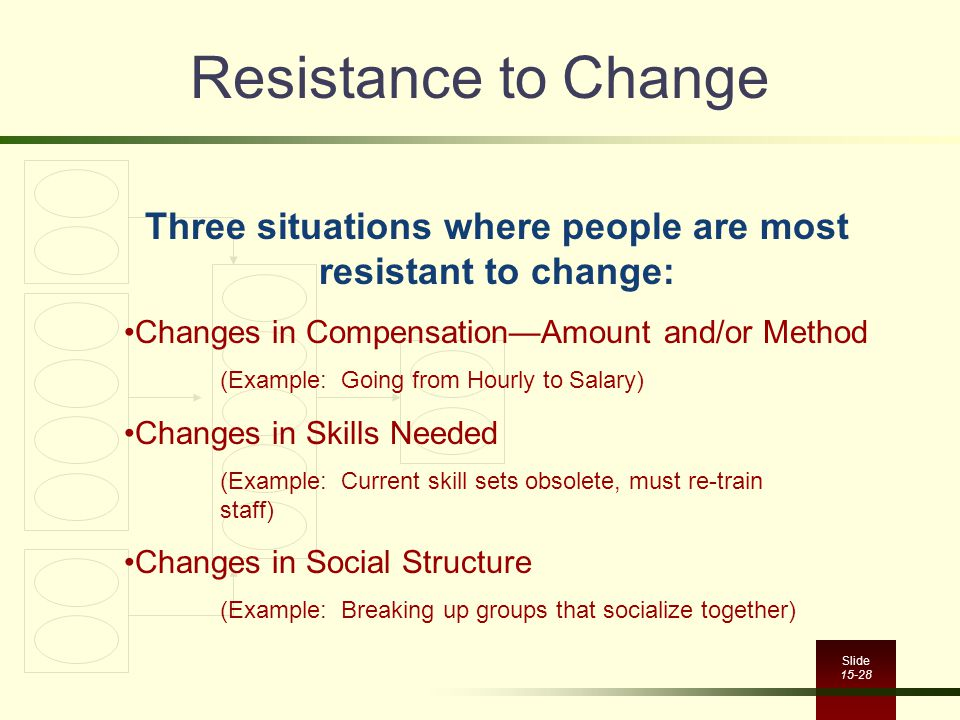 Three situations where people are most resistant to change: