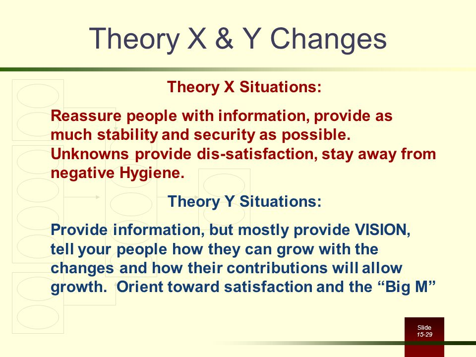 Theory X & Y Changes Theory X Situations: