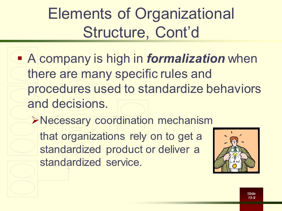 Elements of Organizational Structure, Cont'd