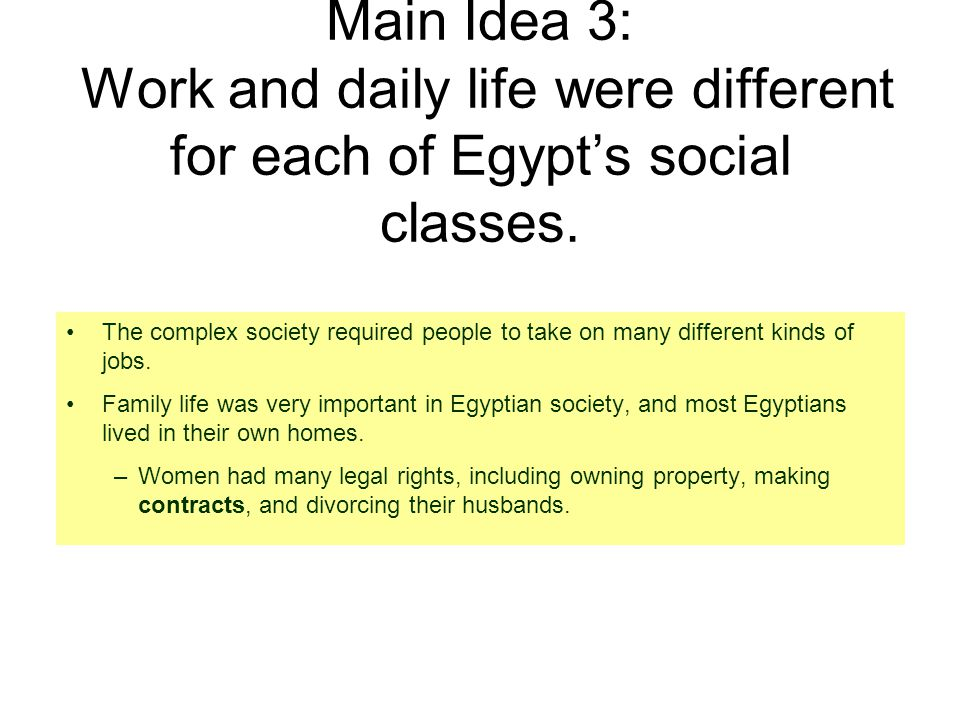 Main Idea 3: Work and daily life were different for each of Egypt's social classes.