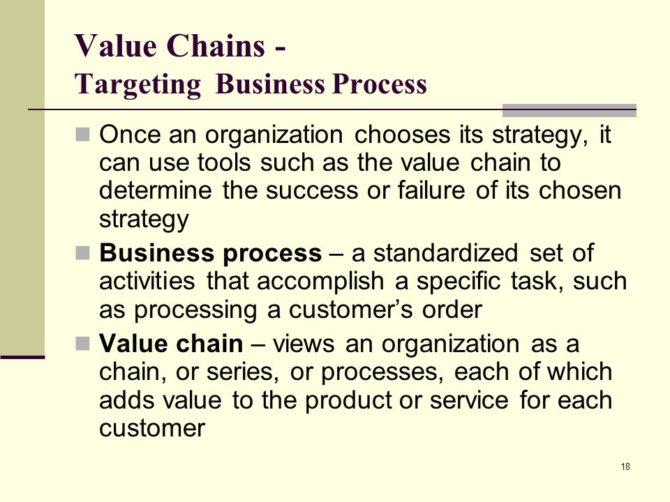 Value Chains - Targeting Business Process