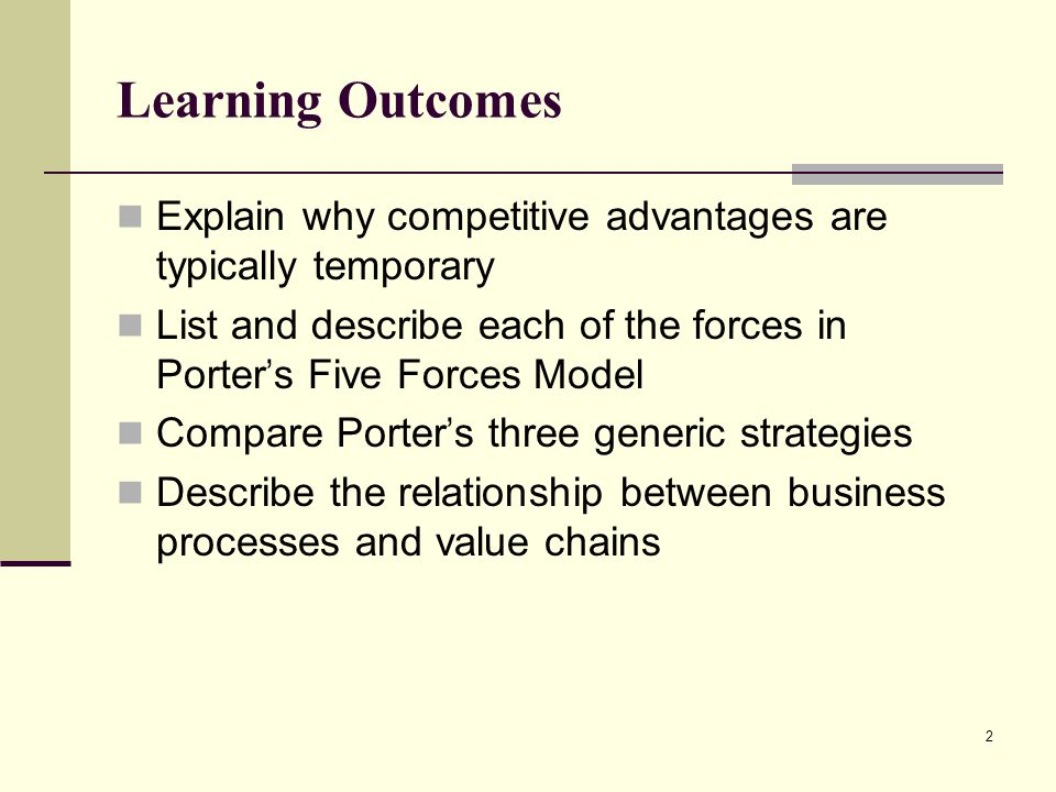 Learning Outcomes Explain why competitive advantages are typically temporary. List and describe each of the forces in Porter's Five Forces Model.