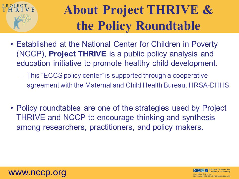 About Project THRIVE & the Policy Roundtable